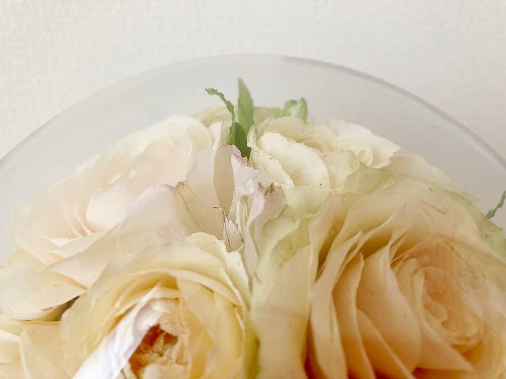 1日使用した生花をプリザーブドフラワーにした際の花の痛み具合